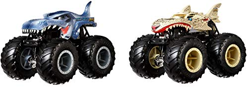 Hot Wheels - Monster Trucks Demolición Doble Vehículos Mega Wrex vs Tiburón Leopardo, Coches de (Mattel GJY43) , color/modelo surtido