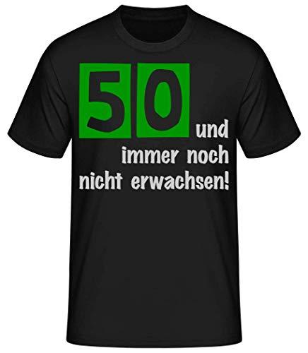 Shirtinator Lustiges Shirt für Herren | Ideal zum 50. Geburtstag | 50 und Immer noch Nicht erwachsen | Original Herren T-Shirt (Schwarz, L)