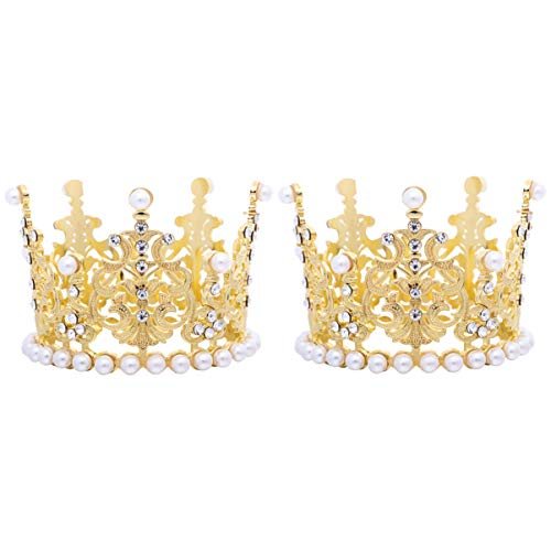 Amosfun 2pcs Mini Crown Cake Topper Pearl Rhinestone Queen Princess Tiara Crown for Birthday Wedding Party Cake Decorations Supplies (Golden)