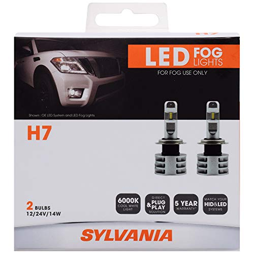 SYLVANIA - H7 LED Fog Light - Premium Quality Plug and Play LED Fog Lights, Bright White Light Output, Matches HID & LED Headlight Lighting Systems, Added Style & Performance (Contains 2 Bulbs)