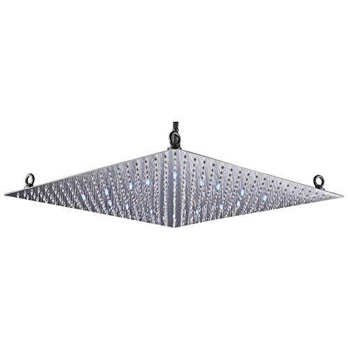 Rozin Bathroom LED Light 20-inch Rainfall Shower Head Square Overhead Sprayer Brushed Nickel