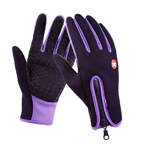 Outdoor Winter Touchscreen Waterproof Warm Full Finger Bike Gloves Winter Cycling Gloves Road Moutain Bike Bicycle Gloves (Purple, m)