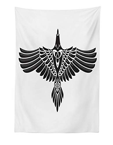 Lunarable Raven Tapestry, Norse Theme Bird in Celtic Design Monochrome Style Illustration Print, Fabric Wall Hanging Decor for Bedroom Living Room Dorm, 30' X 45', Charcoal White
