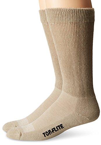 Top Flite Men's Diabetic Non-Binding Cushion Ultra Dri Mid Calf Socks 2 Pair Pack, Khaki, Large
