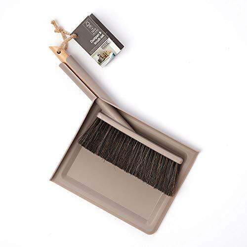 wilma nature Besen & Schaufel   modernes & praktisches Design   FSC-Holz, Rosshaar Borsten, Kunststoff  : Farbe: Grau