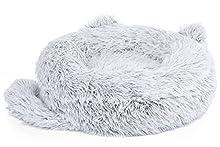 Pecute Cama para Perros de Felpa Cama Gato Redonda Mascotas Calentito Cojín Lavable Cama Suave Dount para Perros,Diámetro 45cm,Gris