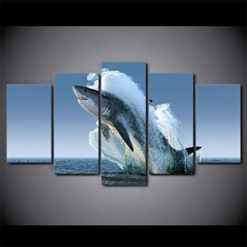 Gran Tiburón Blanco Saltando Fuera Del Agua De Mar Cuadro Sobre Impresión Lienzo 5 Piezas Marco 150X80Cm Hd Arte De Pared Modulares Sala De Estar Dormitorios Decoración Para El Hogar Póster Regalo