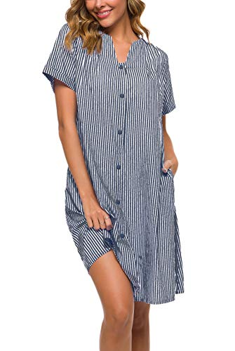 YOZLY House Dress Women Cotton Duster Robe Short Sleeve Housecoat Button Down Nightgown Navy Blue