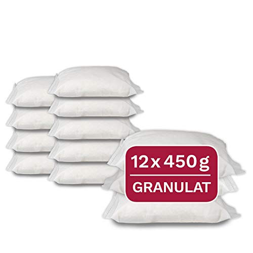 12 x 450 g Universal Luftentfeuchter Nachfüllpack, Granulat im Vliesbeutel, geeignet für gängige Raumluftentfeuchter