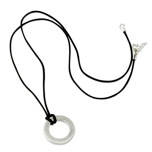NOVICA Geometric Brushed Finish .925 Sterling Silver Men's Pendant Necklace, 21.75' 'Perfect Circle'