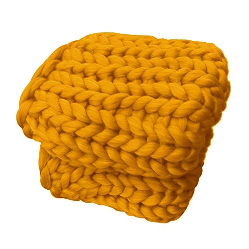 YXYH Tejidas Mano Diseño Lujo Manta Punto Grueso por Manta for Mascotas Suave Acogedor Manta Hilo Gigante Interior Exterior Decoración Dormitorio (Color : Yellow, Size : 127x152cm)