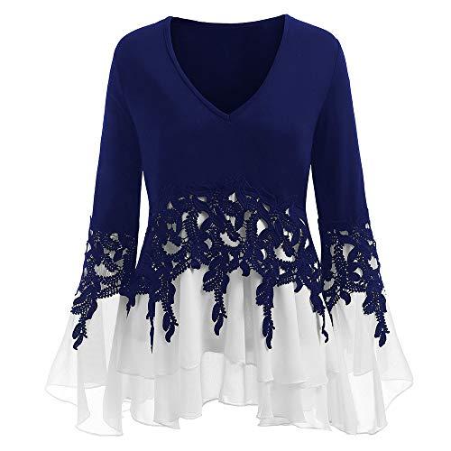 Dames pullover Sexy Dasongff chiffon blouse kant hemd V-hals lange mouwen vrouwen herfst locker jumper croptops met Batwing tunieken grote maten,