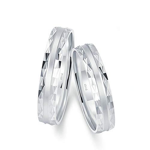 Aienid 18 Karat Weißgold Ring Für Paare Mit Gravur Silber Geometrischer Schnitt Poliert Matt Paar Ringe Set Frauen 56 (17.8) & Herren 62 (19.7)