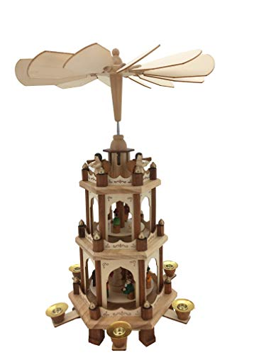 PIONEER-EFFORT 17 Inch Wooden Christmas Pyramid Candle Holders - 3 Tiers - Hand Painted Nativity Figurines - Turning Wings (005-Natural)