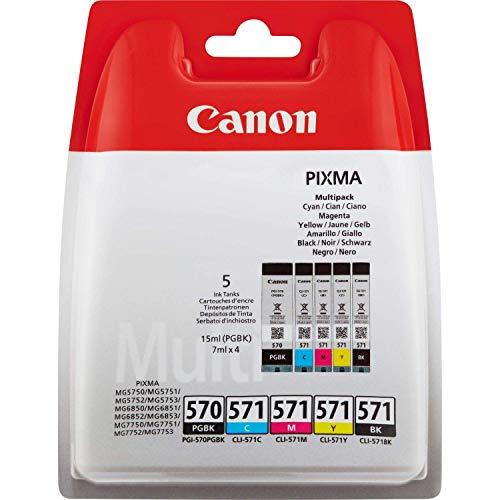 Canon PGI-570+CLI-571 5 Cartuchos Multipack de tinta original PGBK/BK/C/M/Y para Impresora de Inyeccion de tinta Pixma TS5050-TS5055-TS5053-TS5051-TS6050-TS6052-TS6051-TS8050-TS8053-TS8052-TS8051-TS9055-TS9050-MG5750-MG5751-MG5752-MG5753-MG6850-MG6851-MG6852-MG6853-MG7750-MG7751-MG7752-MG7753