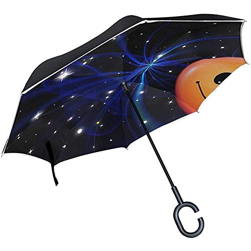 Alice Eva Inverted Umbrella Smilie Weihnachtsstern Lächeln Freude Gesicht Cartoon Regenschirme Reverse Taschenschirm Big Straight Umbrella