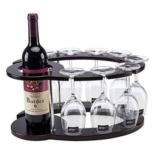 Wijnglasrek, houten wijnrek met glazen houder Aanrechtblad 1 wijnfleshouderstandaard & 8 glaswerkorganizer, vrijstaand, 16x11x8 inch Harmonious home