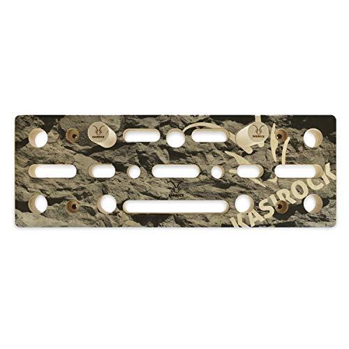 KASIROCK Comboboard Pegboard Fingerboard, 9 Steckplätze für Rundstäbe und 10 Fingerlöcher für Verschiedene Griffe, 60 x 21 x 4 cm Rock-Edition inkl. 2 Rundholzstäbe Wandschutz und Montagematerial