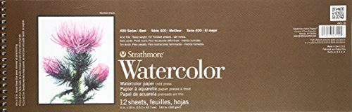 Strathmore P440-18 Watercolor Pad, 6'x18' Wire Bound, 12 Sheets
