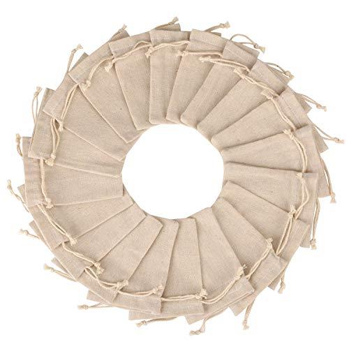SIMUER Baumwolltasche Klein mit Tunnelzug,50 Stück Baumwolle Musselin Beutel Tunnelzug Musselinbeutel,Wiederverwendbare Gemüsebeutel, Teabag für Hochzeit Party Mitbringsel DIY Handwerk,10 x 8 cm Weiß