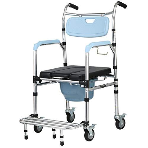 Toilettenstuhl Mit Rollen Auch Zum Duschen, Toilettensitz mit Rädern, Toilettensitz Commode Wheeled Shower Commode Stuhl für Behinderte, Behinderte, Senioren und ältere Menschen