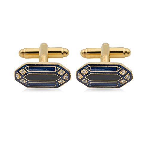 Rosec Jewels Navarra Manschettenknöpfe im Vintage-Stil, vergoldet, Blaue Schwarze Emaille Manschettenknöpfe für Männer, Art Deco, achteckige Form, Herren-Hochzeitsschmuck, formelle Kleidung