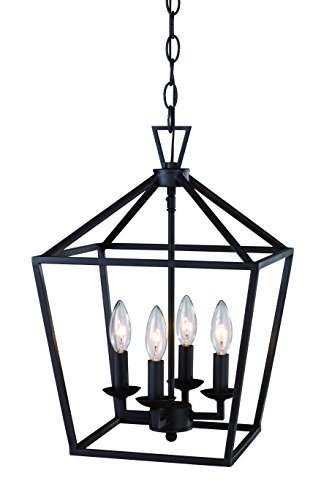 Trans Globe Imports 10264 ROB Transitional Four Light Pendant from Lacey Collection Dark Finish, 12.00 inches, 12', Rubbed Oil Bronze