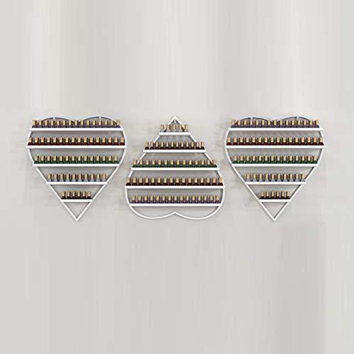 Support de vernis à ongles mural, support de finition de support de vernis à ongles multicouche en forme de coeur, support de stockage de cosmétiques / parfums, boîte de rangement, salon de manucur