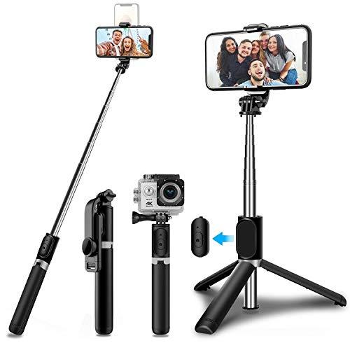 SYOSIN Palo Selfie Trípode, Extensible (103CM) Bluetooth Selfie Stick Móvil con Control Remoto Compatible para iPhone Samsung Xiaomi Huawei
