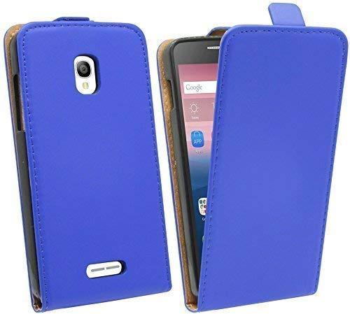 ENERGMiX Klapptasche Schutztasche kompatibel mit Alcatel One Touch POP Star (5022D) in Blau Tasche Hülle