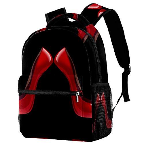 LORVIES - Mochila de hombro con zapatos de tacón alto, color rojo brillante