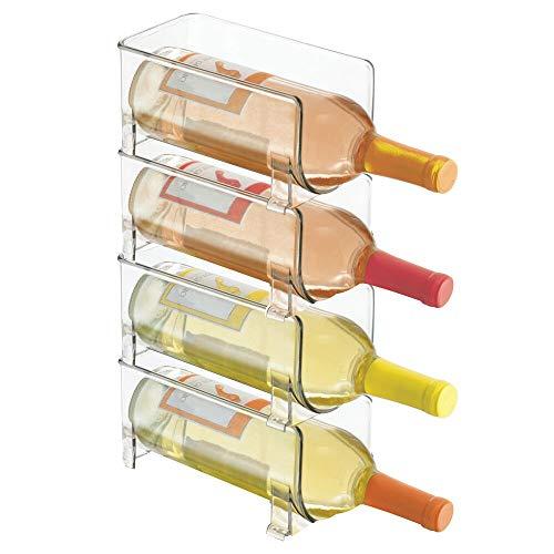 mDesign Weinständer – stapelbarer Flaschenhalter für Ihre Getränkeaufbewahrung in der Küche – für insgesamt vier Flaschen, transparent