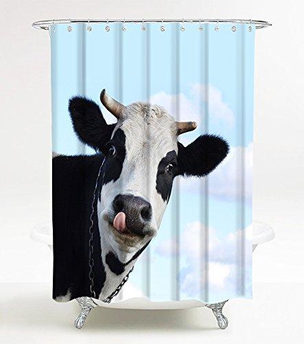 Duschvorhang Kuh 180 x 200 cm, hochwertige Qualität, 100prozent Polyester, wasserdicht, Anti-Schimmel-Effekt, inkl. 12 Duschvorhangringe