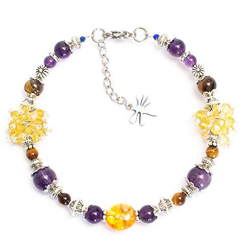 Kimaya Jewellery Women's Handmade Bracelet Citrine, Amethyst, Tiger's Eye, Namasted Symbol ~ Soothing ~