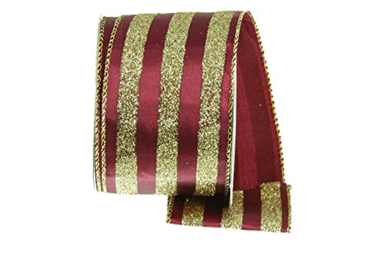 Renaissance 2000 17463 Satin Glitter Striped Pattern Ribbon, Burgundy/Gold