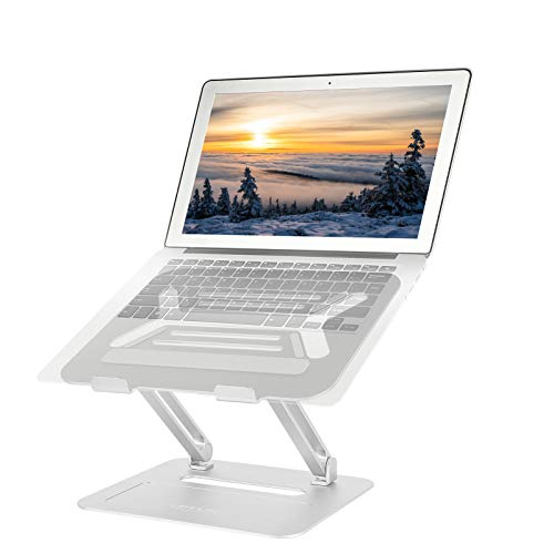 NOVOO Laptop Stand with MacBook Air 10-17 inches 4 Angles Ergonomic Adjustable Foldable Lapdesk Wide Compatible 2 in 1 Portable Aluminum Cooling Computer Stand Alienware Dell XPS Samsung Pro