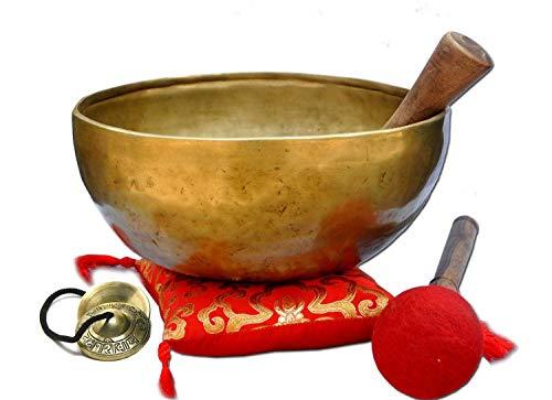 Ajuny Himalaya-Klangschale mit Klangheilung, Meditation, handgehämmert, einfarbig, goldfarben, Bengalischalen mit Kissen, Schlägel und Trommelstöcken, Durchmesser 21,5 cm