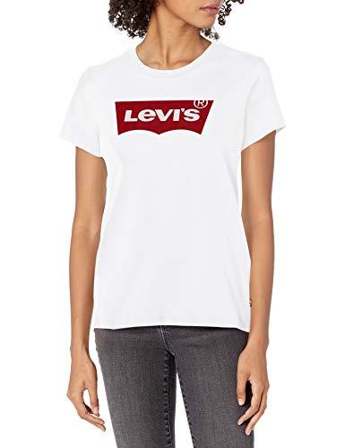 Levi\'s Damen Perfect Tee Shirt Hemd, Core Housemark Weiß, Klein