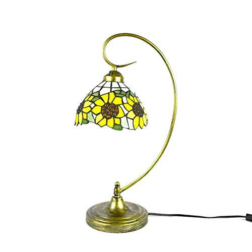 Tiffany Style Light, lámpara de mesa de girasol amarillo estilo Tiffany, lámpara de escritorio con cuello de cisne de vidrio manchado, luces de noche para niños, para la sala de estar, dormitorio, es