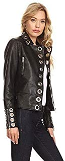 Womens Studded Leather Jacket Vintage Stylish Fashion Leather Jacket Custom Made