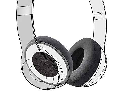 Earpadz Replacement for Beats Solo 3 and Solo 2 Ear Pads, Soft Knit Headphone Cushions (Jerzee, Black, 1 Pair)