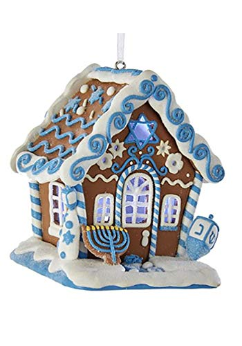 Kurt Adler Gingerbread Led Hanukkah House Ornament