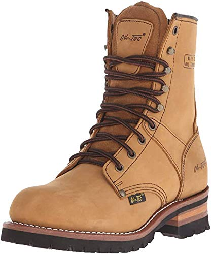 Ad Tec 9 in Mens Lug Sole Super Logger Crazy Horse Leather Work Boots - Smooth Lining and Shock Absorbing Non Slip Rubber Insole Brown
