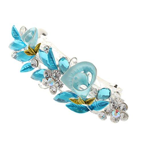 Generic Haarspange,mit Kristall Strass, Blume Form, Haarschmuck, Für Damen - Blau