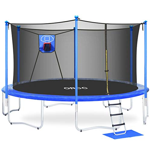 ORCC Trampoline 15FT 12FT Basketball Trampoline with Safety Enclosure Net, Ladder, Rain Cover, Basketball Hoop and Ball, Kids Trampoline with Safe Certificated