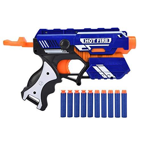 Dilwe Pistola de Juguete con Bala Suave Pistola de Bala de Goma de ABS con Balas de Cabeza Redonda Clip de Revista para Juego de Interior