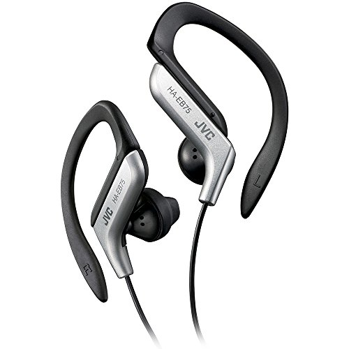 Clip Style Headphone Black and Silver Lightweight and Comfortable Ear Clip Splash Proof Water resistant Powerful Sound with Bass Boost JVC HAEB75S