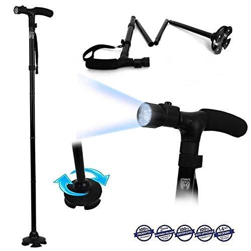 Ducomi® Bastón de paseo plegable con luz led, altura ajustable