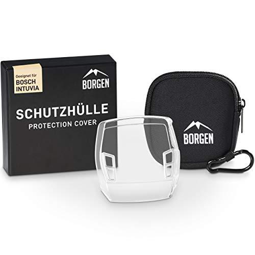 Borgen Displayschutz - geeignet für Bosch Intuvia Schutzhülle - Zubehör für E-Bike Display - 100% transparent, wasserdicht - Inkl. Display Tasche / Hülle aus Neopren (TPU-Hülle + Tasche)