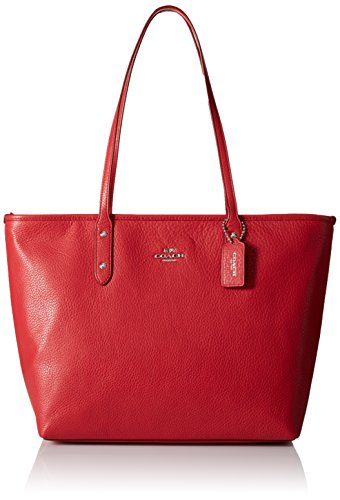 COACH Womens Pebbled City Zip Tote SV/True Red Tote